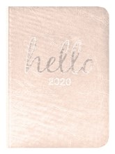 2020 Small Pocket PU Soft Week To View Diary - Silver with Foil Edges