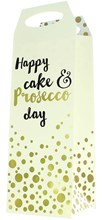 "Bottle Unisex Gift Bag - Ivory & Gold Happy Cake & Prosecco Day 14.5"" x 5"""