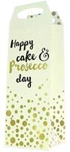 "Bottle Unisex Gift Bag - Ivory & Gold Happy Cake & Prosecco Day 14.5"" x 5"""
