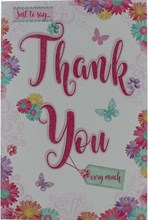 """Thank You Greetings Card - Pink Glitter Text Flower Border & Butterfly 8.5""""x5.5"""""""