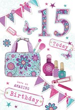 "Age 15 Girl Birthday Card - Bright Make Up Bag, Perfume & Bunting 8.5"" x 5.5"""