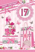 """Age 17 Girl Birthday Card - Pink High Heel, Gift Boxes & Butterflies 8.5"""" x 5.5"""""""