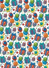 Bright Balloons and Presents Birthday Wrapping Paper - 1 Sheet & 1 Matching Tag
