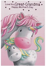 Great Grandma Mother's Day Card - Unicorns Pink Foil Hearts Writing 7.75x5.25""
