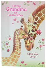 Grandma Mother's Day Card - Giraffes with Pink Flowers Hearts and Foil 7.5x5.25""