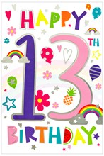 """Teenager 13th Birthday Card - Rainbow Text Balloons with Silver Foil 7.5x5.25"""""""