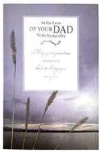 """Loss Of Your Dad Sympathy Card - Sky over Water Silver Foiled Writing 7.5x5.25"""""""