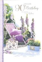 "Age 90 Female Birthday Card Lilac Deckchair Flowers with Glitter Foil 7.75x5.25"""