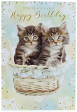 """Open Female Birthday Card - Two kittens in Basket with Gold Glitter 7.75 x 5.25"""""""