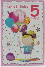 """Age 5 Girl Birthday Card - Pink 5, Girl with Balloons & Stars  7.5"""" x 5.25"""""""