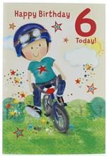 """Age 6 Boy Birthday Card - Red 6, Boy on Bike & Stars   7.5"""" x 5.25"""""""