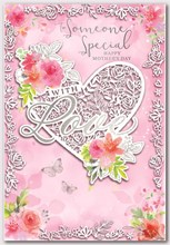 """Someone Special Mother's Day Card White Heart Pink Flowers Silver Foil 7.5x5.25"""""""
