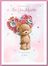"""Mum Mother's Day Card - Bear with Glitter Flowers and Pink Foil 9.75x6.75"""""""