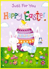 """Open Easter Greetings Card - Egg, Rabbits, Chicks Sheep & Flowers  7"""" x 5"""""""