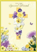 """Special Friend Easter Card - A Cross with Daffodils & Gold Foil Writing  7 x 5"""""""