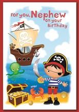 "Nephew Birthday Card - Little Pirate Boy with Treasure & Pirate Ship 7.5 x 5.25"""