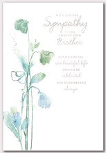 "Loss of Your Brother Sympathy Card - Green Flowers and Silver Foil 7.5"" x 5.25"""