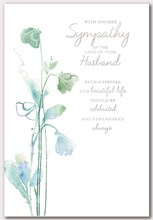 """Loss Of Your Husband Sympathy Card - Green Flowers and Silver Foil 7.5"""" x 5.25"""""""