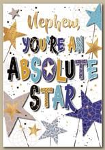 "Nephew Birthday Card - Blue & Gold Foil Writing with Stars 7.5"" x 5.25"""