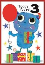 """Age 3 Boy Birthday Card - Blue Monster with Balloon Stars & Gifts  7.5"""" x 5.25"""""""