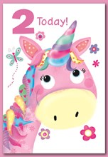 """Age 2 Girl Birthday Card - Unicorn Flowers & Butterfly with Glitter 7.5"""" x 5.25"""""""