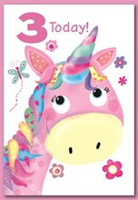"""Age 3 Girl Birthday Card - Unicorn Flowers & Butterfly with Glitter 7.5"""" x 5.25"""""""