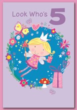 """Age 5 Girl Birthday Card - Purple Glitter 5 & Fairy with Gifts   7.5"""" x 5.25"""""""
