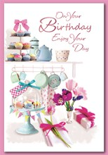 """Open Female Birthday Card - Cupcakes, Flowers & Gift with Foil  7.75"""" x 5.25"""""""