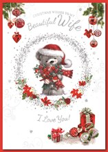 """Wife Christmas Card - Bear Holding Bunch Of Roses with Glitter & Foil  9.75x7"""""""