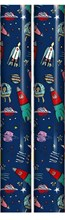 6m Children's Gift Wrapping Paper Roll - 2 x 3m - Blue Red Green Space Rockets