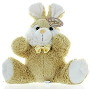 "12"" Light Brown Easter Bunny Rabbit Soft Toy Plush Wearing Yellow Satin Bow"