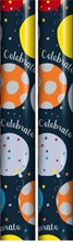 6m Wrapping Paper Roll 2x3m - Blue with Bright Balloons and Silver Celebrate