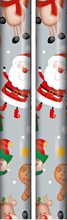 10m (2 x 5m) Children's Christmas Gift Wrapping Paper Roll Silver Santa Rudolph