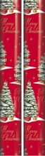 10m (2 x 5m) Christmas Gift Wrapping Paper - Red with Xmas Trees Gold Writing