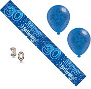 Age 30 Male Birthday Party Pack - 30th Banner, Balloons, Number Candles