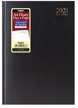 2021 A4 Page a Day Hardback Diary with Full Page Saturday Sunday - Black