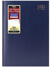 2021 A4 Page a Day Hardback Diary with Full Page Saturday Sunday - Blue