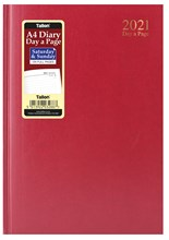 2021 A4 Page a Day Hardback Diary with Full Page Saturday Sunday - Red
