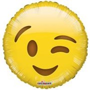 "Round 18"" Yellow Emoji Foil Helium Balloon (Not Inflated) - Winking Face"