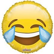 "Round 18"" Yellow Emoji Foil Helium Balloon (Not Inflated) - Crying Laughing Face"
