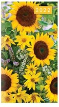 2022 Slim Pocket 2 Week To View Soft back Floral Diary - Yellow Sunflowers
