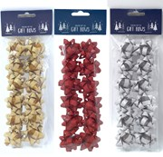 Pack of 36 Small Glitter Foil Christmas Gift Bows - Plain Red, Gold & Silver