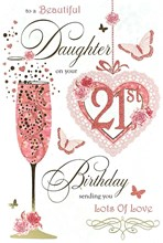 """Daughter 21st Birthday Card - 21 Today Flute, Roses & Butterflies 9.75"""" x 6.5"""""""