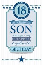 "Son 18th Birthday Card - 18 Today Blue Glitter Text & Silver Stars 9.75"" x 6.5"""