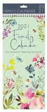 2021 Large Slim Spiral Bound Family Organiser Calendar 5 Columns - Wild Flowers