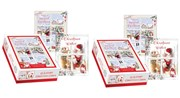 Box of 40 Scenic Glitter Christmas Cards - 2 Designs - Traditional Santa