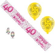 Age 40 Female Birthday Party Pack - 40th Banner, Balloons, Number Candles