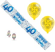 Age 40 Male Birthday Party Pack - 40th Banner, Balloons, Number Candles