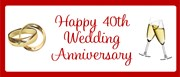 Ruby 40th Anniversary Personalised Landscape Party Banner - Add Your Own Message