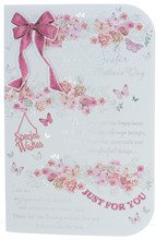 """Sister Mother's Day Card - Pink Flowers and Butterflies with Silver Foil 9x6"""""""